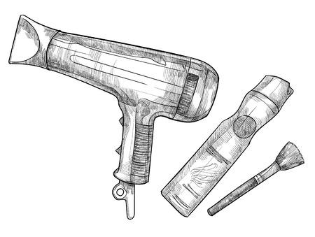 Hand-drawn vector illustration - hairdresser tools (barber tools) Illustration