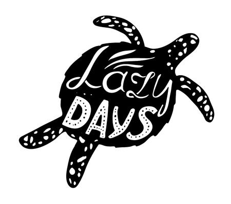 inscribed: Hand-drawn vector illustration - Quote inscribed in the silhouette of the sea turtles. Lettering Illustration