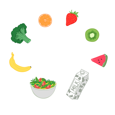 consuming: Hand drawn vector illustration - Healthy diet. Fruits and vegetables.