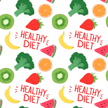 Hand-drawn vector illustration - Seamless pattern with fruit and vegetables. Banana, orange, strawberry, broccoli, kiwi and watermelon. Healthy diet Illustration