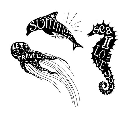 inscribed: Hand-drawn vector illustration - Quote inscribed in silhouette jellyfish, dolphin and seahorse. Love summer Illustration