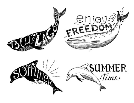 inscribed: Hand-drawn vector illustration - Quote inscribed in silhouette dolphin and whale. Love summer