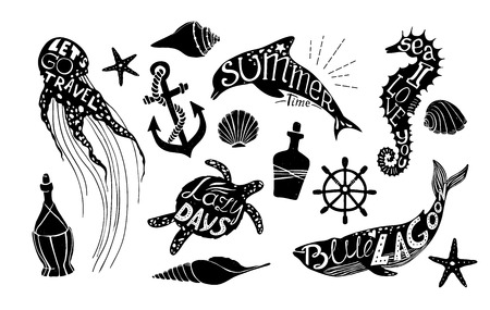 citations: Hand drawn vector illustration - Marine kit. Graphic elements for design creation, postcards, banners and invitations. Silhouette of whales, dolphins, sea horses, turtles and jellyfish with summer citations. Illustration