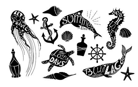 Ręcznie rysowane ilustracji wektorowych - zestaw morskich. Elementy graficzne do tworzenia projektów, pocztówek, banerów i zaproszeń. Sylwetka wielorybów, delfinów, koników morskich, żółwi i meduz z letnimi cytatami.