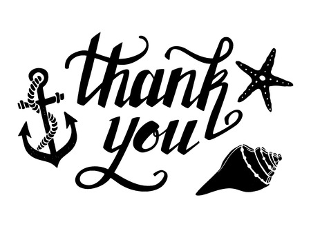 Hand-drawn vector illustration - Thank you. Hand lettering. Calligraphy Illustration