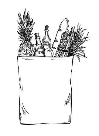Hand drawn illustration - Paper Bag With Food. Sketch. Vector. Illustration