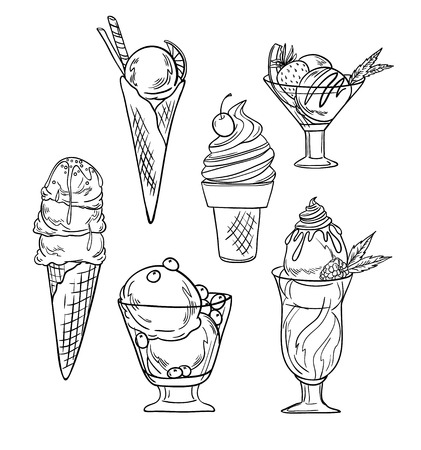 Hand drawn vector illustration - Collection of ice cream.