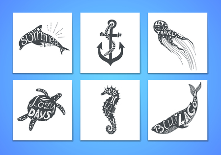 citations: Hand drawn vector illustration - Marine kit. Graphic elements for design creation, postcards, banners and invitations. Silhouette of whales and dolphins with summer citations.