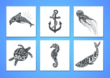 Ilustracji wektorowych wyciągnąć rękę - Marine zestaw. Elementy graficzne do projektowania, pocztówek, banerów i zaproszeń. แทน เลือก เล tính ของ ที่