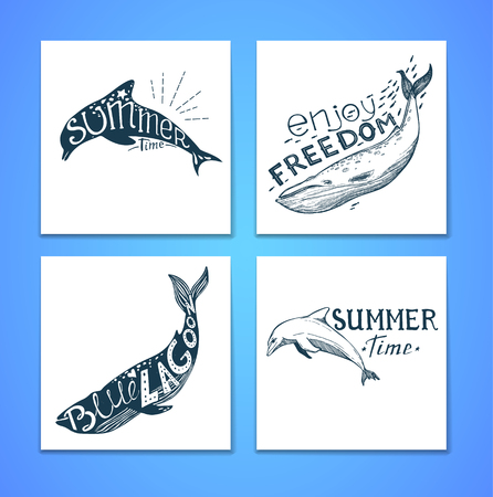 Hand drawn vector illustration - Marine kit. Graphic elements for design creation, postcards, banners and invitations. Silhouette of whales and dolphins with summer citations.