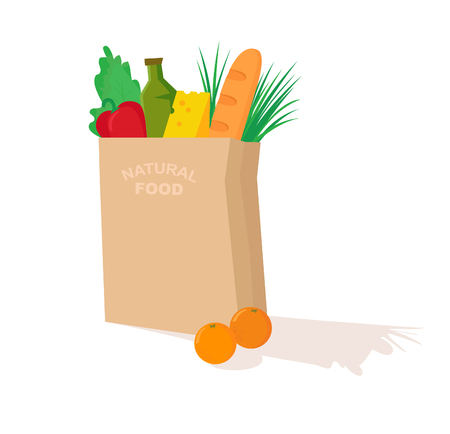 provision: Hand drawn vector illustration - Supermarket shopping bag with healthy food. Grocery store.