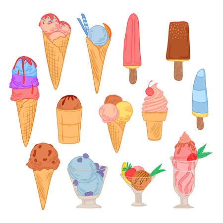 Hand drawn vector illustration - Super set of ice cream. Sweet desserts
