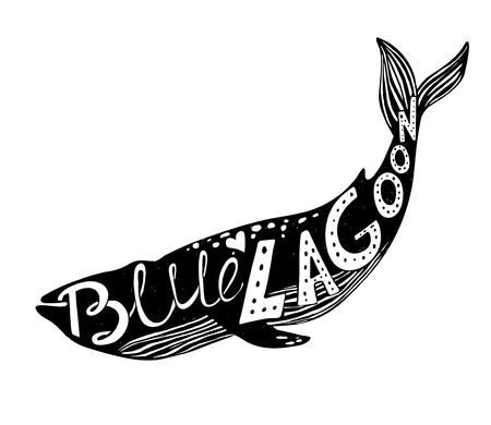blue lagoon: Hand-drawn vector illustration - Quote inscribed in silhouette whale. Lettering