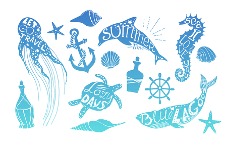 citations: Hand drawn vector illustration - Marine life. Perfect for invitations, greeting cards, quotes, blogs, posters and more. Silhouette of whales, dolphins, sea horses, turtles and jellyfish with citations Illustration