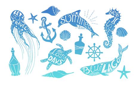 Ręcznie rysowane ilustracji wektorowych - Życie morskie. Idealne na zaproszenia, karty okolicznościowe, notowania, blogi, plakaty i wiele innych. Sylwetka wieloryby, delfiny, koniki morskie, żółwie i meduzy z cytatów Ilustracje wektorowe