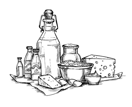 Hand drawn illustration - Farmers dairy products. Grocery store. Supermarket