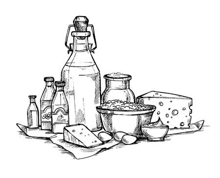 Hand getrokken illustratie - Boeren zuivelproducten. Supermarkt. Supermarkt