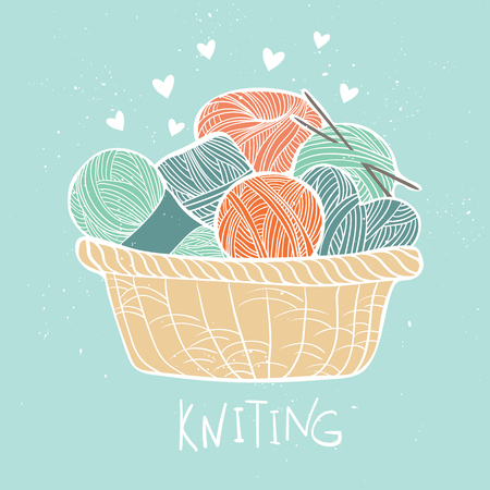 cashmere: Hand drawn vector vintage illustration - Set of knitting. Yarn and knitting needles in wooden basket Illustration