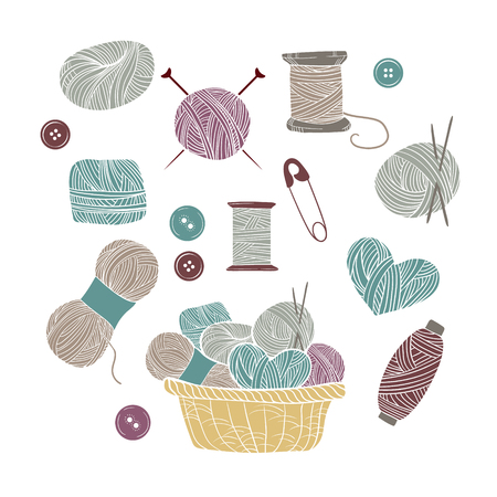 Hand drawn vector vintage illustration - Set of knitting and crafts. Yarn, pins, buttons, thread, needle bar and knitting needles Vettoriali