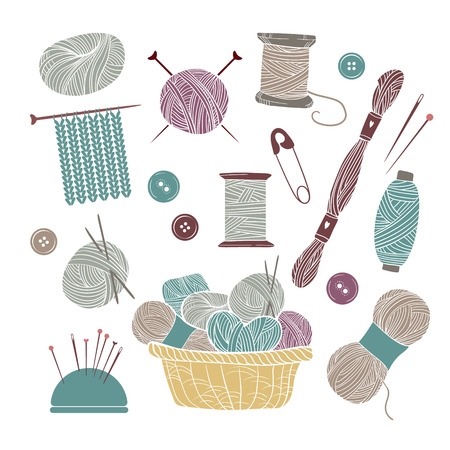Hand drawn vector vintage illustration - Set of knitting and crafts. Yarn, pins, buttons, thread, needle bar and knitting needles 일러스트