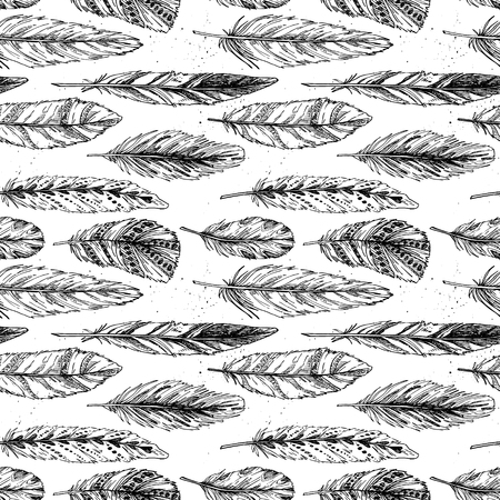 swelled: Seamless pattern. Hand drawn vector vintage illustration - Feathers. Ink and feather