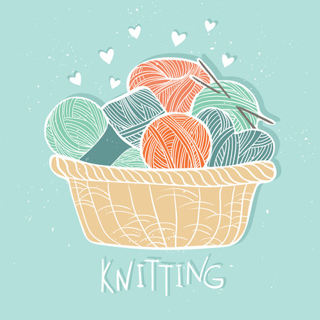 basket embroidery: Hand drawn vector vintage illustration - Set of knitting. Yarn and knitting needles in wooden basket Illustration
