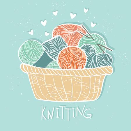 Hand drawn vector vintage illustration - Set of knitting. Yarn and knitting needles in wooden basket Illustration