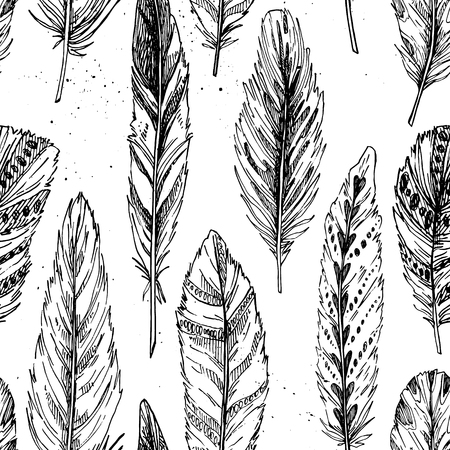 softly: Seamless pattern. Hand drawn vector vintage illustration - Feathers. Ink and feather