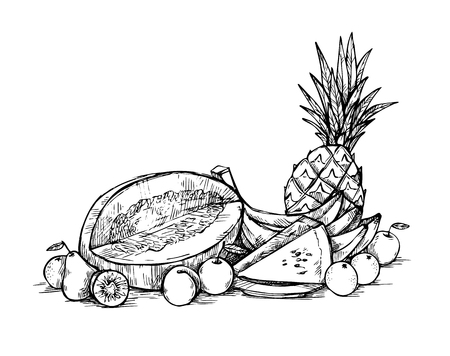 provision: Hand drawn vector illustration - Fruits. Supermarket. Grocery store. Organic and vegan food.