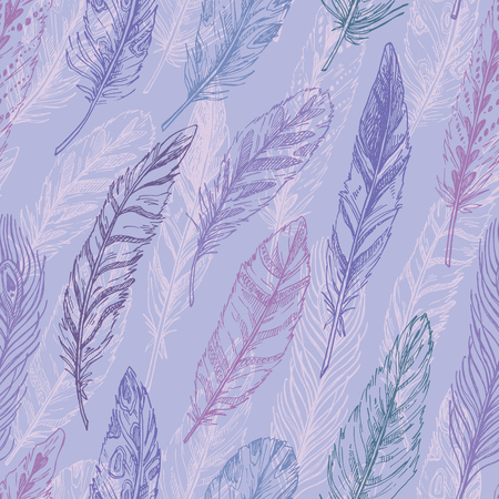 feathering: Seamless pattern. Hand drawn vector vintage illustration - Feathers. Ink and feather