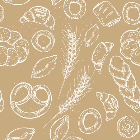 bakery store: Hand drawn vintage vector seamless pattern - Bakery shop. Grocery store. Organic food. Illustration