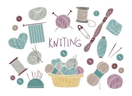손으로 그린 벡터 빈티지 그림 - 뜨개질와 공예의 집합입니다. 원사, 핀, 버튼, 실, 바늘대 및 뜨개질 바늘