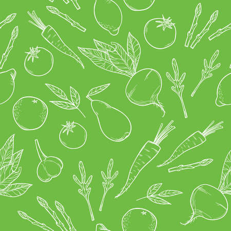 provision: Hand-drawn vector illustration. Seamless pattern with fruit and vegetables. Healthy diet
