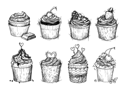 cupcakes isolated: Hand drawn vector vintage illustration - Sweet cupcakes with chocolate, berries and cream. Isolated on white background. Mega set