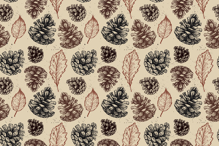 rain forest animal: Hand drawn vector illustrations. Seamless pattern with with pine cones and leaves. Forest background.