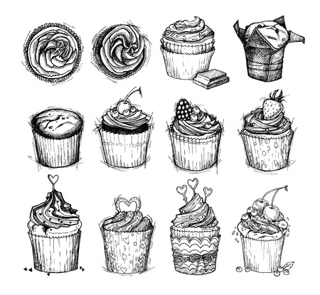 cupcakes isolated: Hand-drawn vector illustration - Sweet cupcakes. Line art. Isolated on white background. Mega set