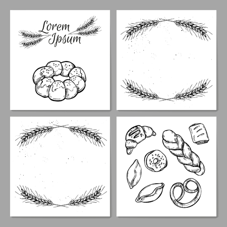 bakery store: Hand drawn vintage vector illustration - Template for Bakery shop. Grocery store. Organic food.