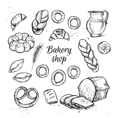 bakery store: Hand drawn vintage illustration - Bakery shop. Grocery store. Organic food.