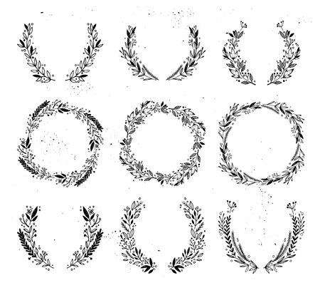Hand drawn vector illustration - Laurels and wreaths. Design elements for invitations, greeting cards, quotes, blogs, posters and more. Perfect For Wedding Frames. Ilustração