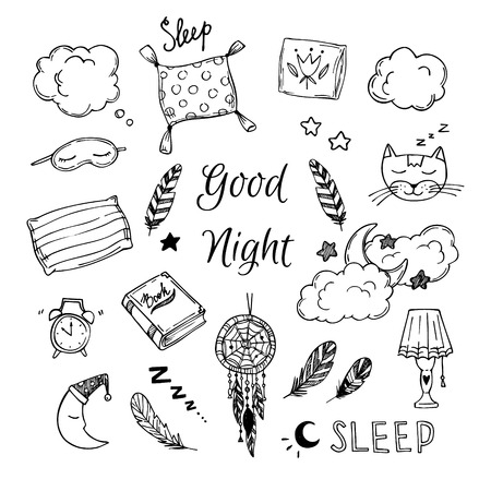 cartoon clock: Hand Drawn vector elements - Good night (dreamcatcher, sleeping moon, pillows, feathers, book, lamp, sleeping cat and more). Illustration