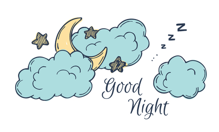 old time: Hand drawn vector illustration - good night, card with moon and clouds