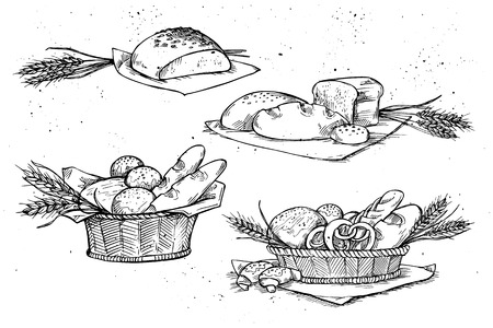 Hand drawn vector illustrations - Bakery shop. Grocery store. Organic food. Set of vintage illustrations.