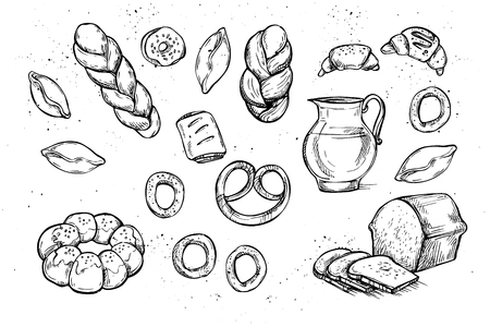 bakery store: Hand drawn vector illustrations - Bakery shop. Grocery store. Organic food. Set of vintage illustrations.