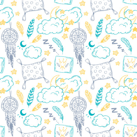 lullaby: Hand drawn vector illustration - Seamless pattern with feathers, moon, clouds, stars and more. Good night.