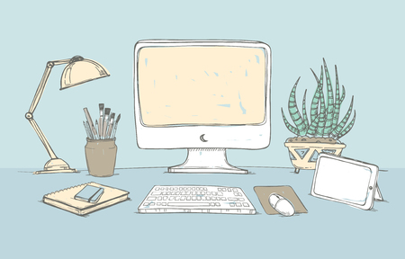 Hand drawn vector illustration -  Concept of creative office workspace. Working place with computer, notebook, tablet, lamp, documents and  flowers