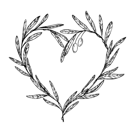 Hand drawn vector illustration - Olive branch, Heart Shaped Wreath. Vintage Ilustração