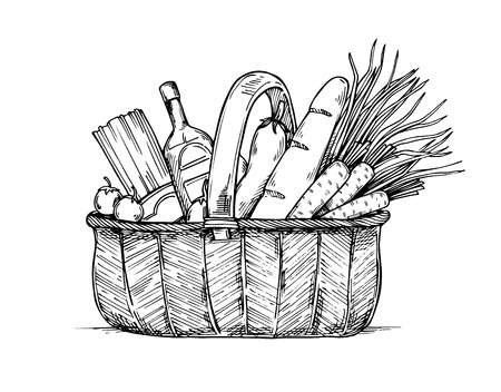 provision: Hand drawn vector illustration - Supermarket shopping basket with healthy food. Grocery store.