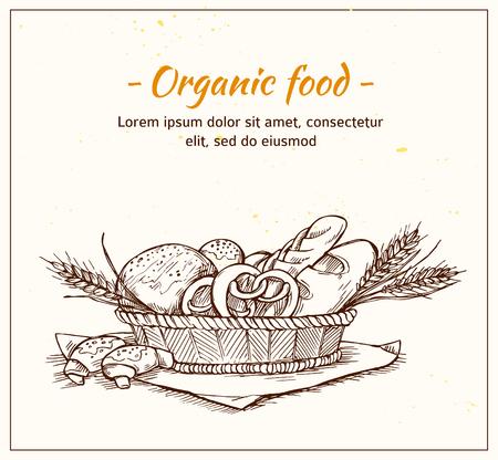 Hand getrokken uitstekende vector illustratie - Bakkerij winkel. Supermarkt. Biologisch voedsel.