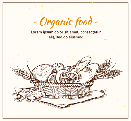 Ręcznie rysowane ilustracji wektorowych Vintage - Piekarnia sklep. Sklep spożywczy. Jedzenie organiczne.