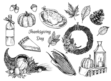 Hand drawn vector illustration - Thanksgiving day. Design elements for invitations, greeting cards, quotes, blogs, posters and more. Illustration